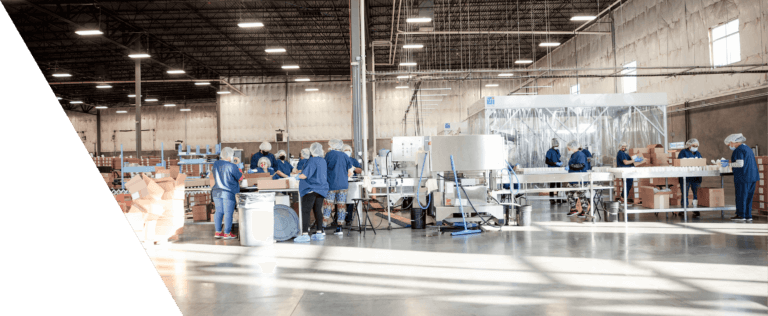 Assembly line workers in packing product